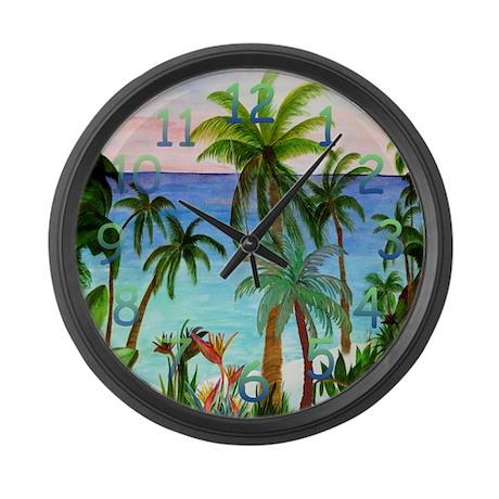 Aqua Beach Palm Tree Clock Large Wall Clock