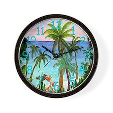 Aqua Beach Palm Tree Clock Wall Clock