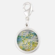 Easy Does It Silver Round Charm