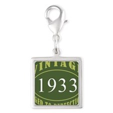 Vintage 1933 (Green) Silver Square Charm