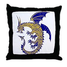 Blue/Gold Ring Dragon Throw Pillow