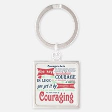 Couraging Square Keychain