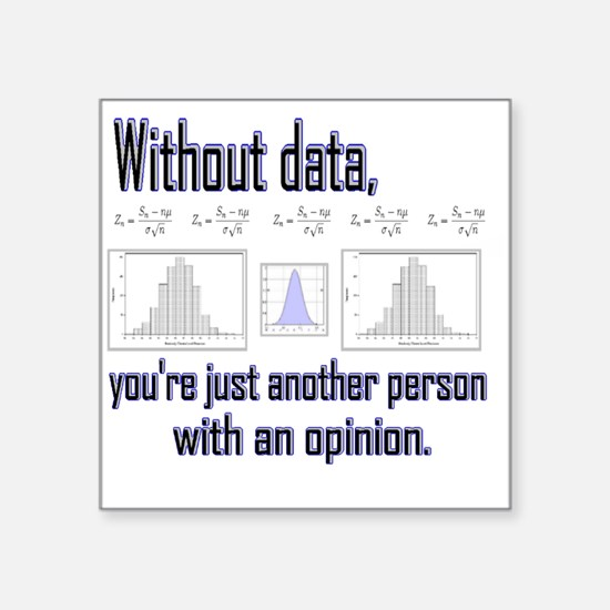 """without data Square Sticker 3"""" x 3"""""""