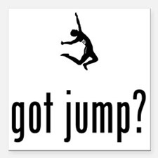 "Long-Jump-02-A Square Car Magnet 3"" x 3"""