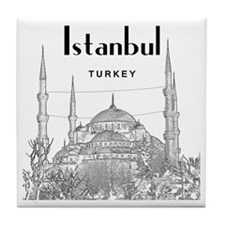 Istanbul_10x10_BlueMosque_Black Tile Coaster