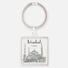 Istanbul_10x10_BlueMosque_Black Square Keychain
