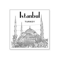 "Istanbul_10x10_BlueMosque_B Square Sticker 3"" x 3"""