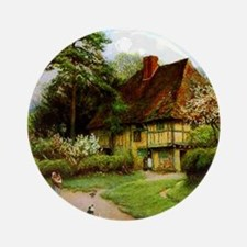 Old English Country Cottage Round Ornament