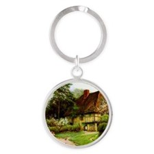 Old English Country Cottage Round Keychain