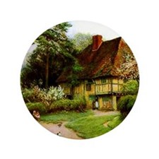 """Old English Country Cottage 3.5"""" Button"""