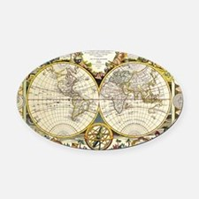 World Map 1755 Oval Car Magnet