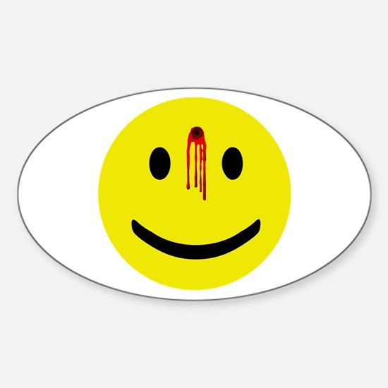 Dead Smiley Oval Stickers