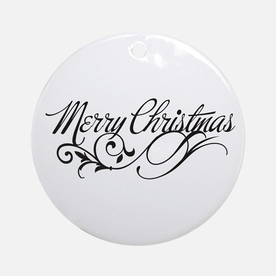 Elegant Merry Christmas Ornament (Round)