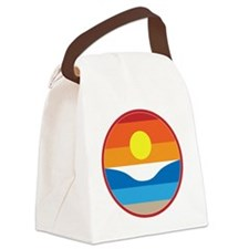 Horizon Sunset Illustration with  Canvas Lunch Bag