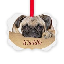Adorable iCuddle Pug Puppy Ornament