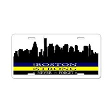 Boston Strong with blue and Aluminum License Plate