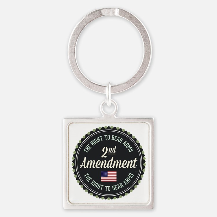 Second Amendment Square Keychain