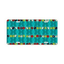Spring Flowers on Aqua Aluminum License Plate