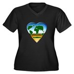 Heart-shaped Earth Women's Plus Size V-Neck Dark T