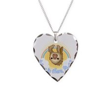 Hang In There Sloth Necklace Heart Charm
