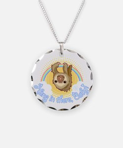 Hang In There Sloth Necklace Circle Charm