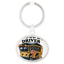 School Bus Driver Logo Oval Keychain