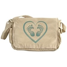 Baby Boy Footprints Messenger Bag