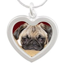 Adorable iCuddle Pug Puppy Silver Heart Necklace
