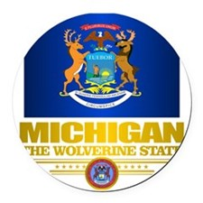 Michigan Pride Round Car Magnet