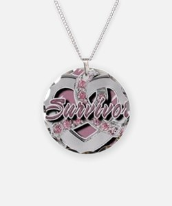Survivor in Heart Necklace Circle Charm