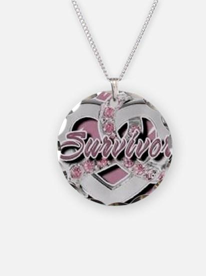 Survivor in Heart Necklace Circle Charm