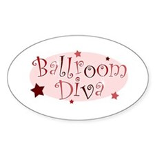 """Ballroom Diva"" [red] Oval Decal"