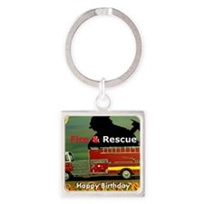 Fire Truck Happy Birthday Card Square Keychain
