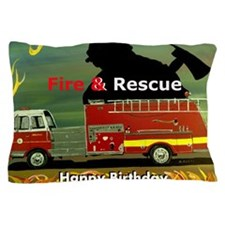 Fire Truck Happy Birthday Card Pillow Case