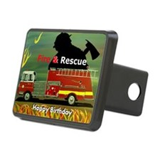 Fire Truck Happy Birthday  Hitch Cover