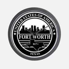 Fort worth logo black and white Wall Clock