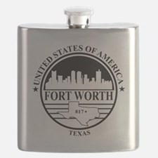 Fort worth logo white and black Flask