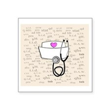 "Nurse Cream Square Sticker 3"" x 3"""
