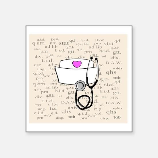 """Nurse Cream Square Sticker 3"""" x 3"""""""