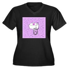 Nurse Pink Women's Plus Size Dark V-Neck T-Shirt
