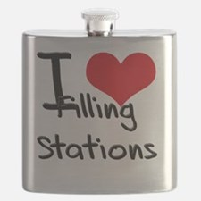 I Love Filling Stations Flask