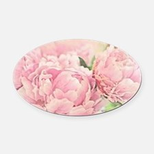 Pink Peonies Oval Car Magnet