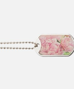 Pink Peonies Dog Tags
