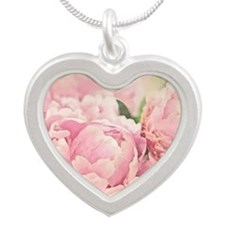 Pink Peonies Silver Heart Necklace