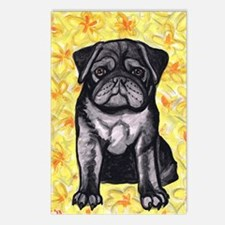 Cute black pug by Artwork Postcards (Package of 8)
