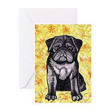 Cute black pug by Artwork by NikiBug Greeting Card