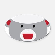 Sock Monkey Face Oval Car Magnet