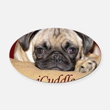 Adorable iCuddle Pug Puppy Oval Car Magnet