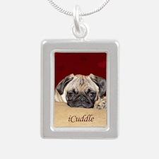 Adorable iCuddle Pug Pup Silver Portrait Necklace