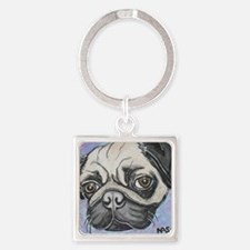 """In your face"" pug by Artwork by N Square Keychain"